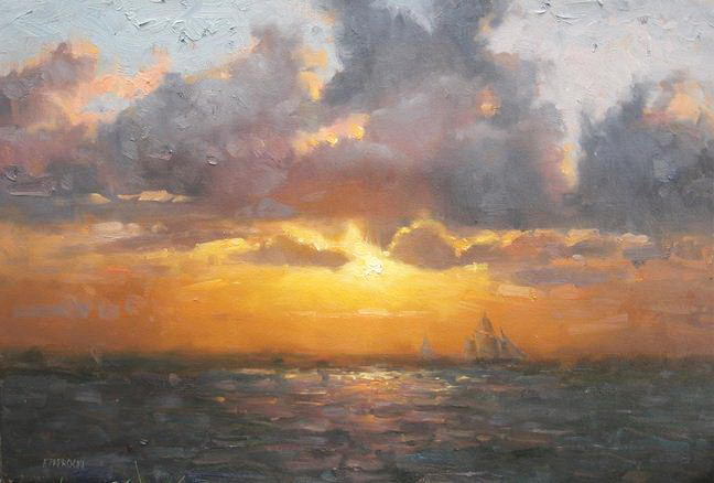 Impressionizm-E.J.Paprocki.-Kartina-Ships-at-Sunset.-16h24-dyuyma-holst-masl