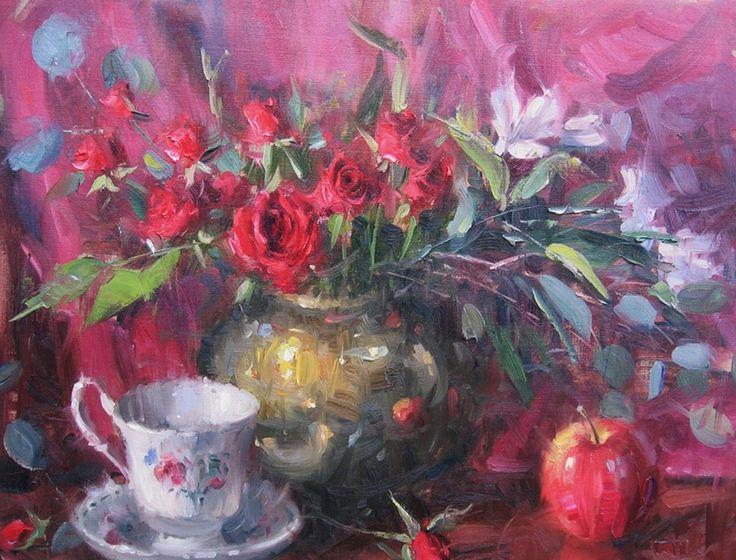 Impressionizm-E.J.Paprocki.-Kartina-Tea-Roses.-16h20-dyuymov-holst-maslo