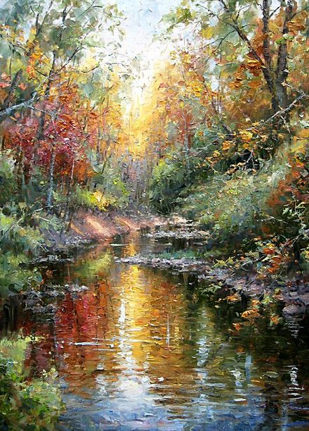 Impressionizm-E.J.Paprocki.-Kartina-Williams-Creek.-40h30-dyuymov-holst-maslo