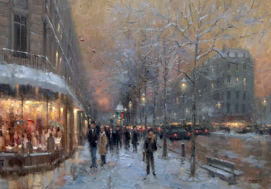 Impressionizm-E.J.Paprocki.-Kartina-Winter-Evening-St.-Germain-Paris-.-16h24-dyuyma-holst-maslo.
