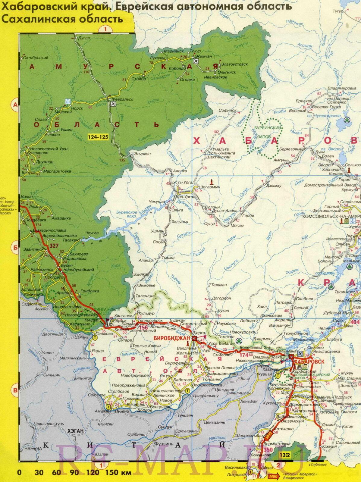 Карта дорог с расстояниями Еврейской автономной области и Хабаровского края
