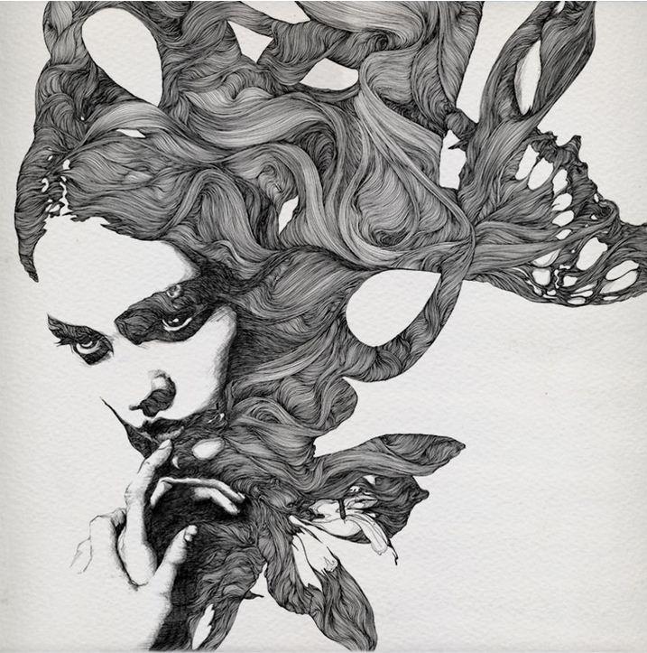 Gabriel Moreno. Рисунок шариковой ручкой. Цветок