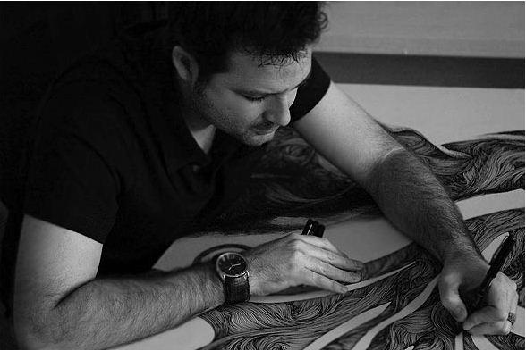 Gabriel Moreno. Рисунок шариковой ручкой