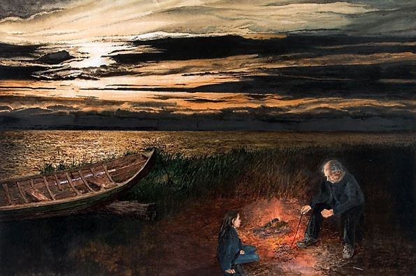 Константин Романов. Пейзаж в акварели. Печеная картошка