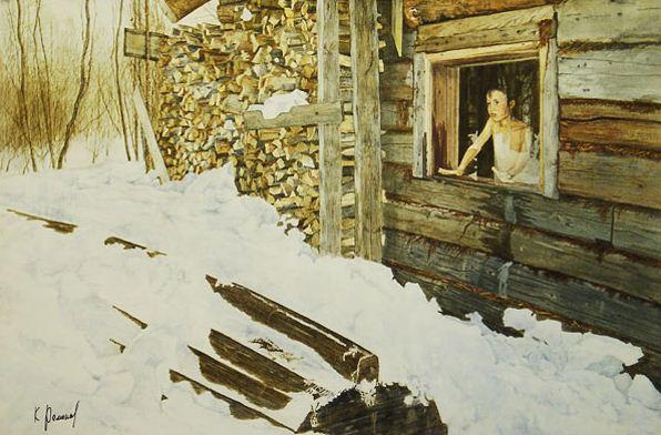 Константин Романов. Пейзаж в акварели. Сауна в марте