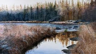 Константин Романов. Пейзаж в акварели. Сумерки первого снега