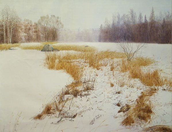 Константин Романов. Пейзаж в акварели. Зима. Карелия