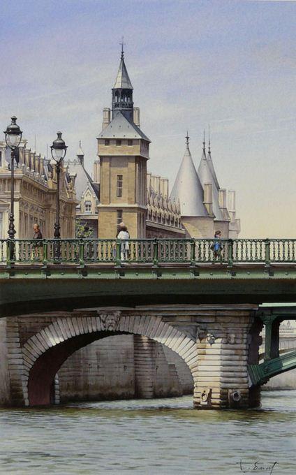 Thierry Duval. Картины из акварели. Часовая башня и мост Нотр-Дам