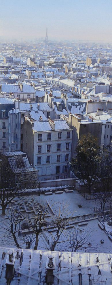 Thierry Duval. Картины из акварели. Крыши Монмартра в снегу