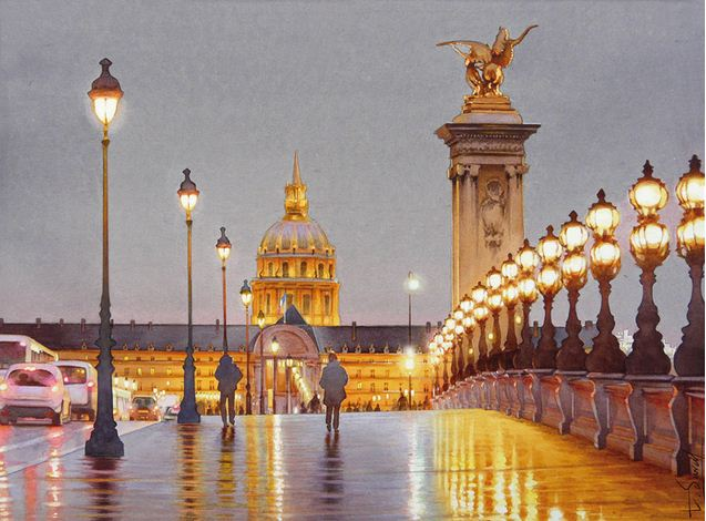 Thierry Duval. Картины из акварели. Ночь на мосту Александра III