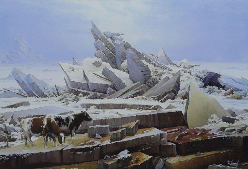 Thierry Duval. Картины из акварели. Потерявшие на морском льду коровы