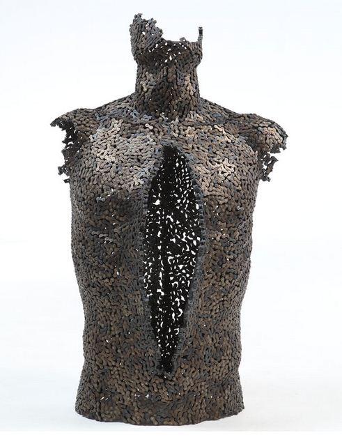 Yeong-Deok Seo. Скульптура из велосипедной цепи восьмая