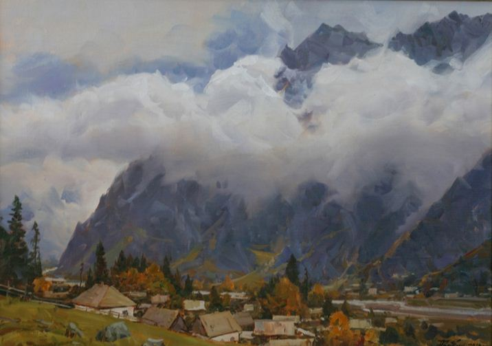 Александр Бабич. Горы маслом. Облако над Тебердой. 50х70 2011