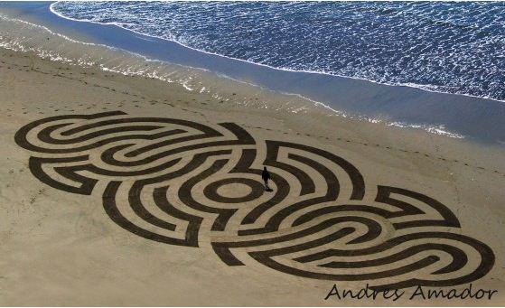 Andres Amador. Большие пляжные рисунки на песке. Пятый