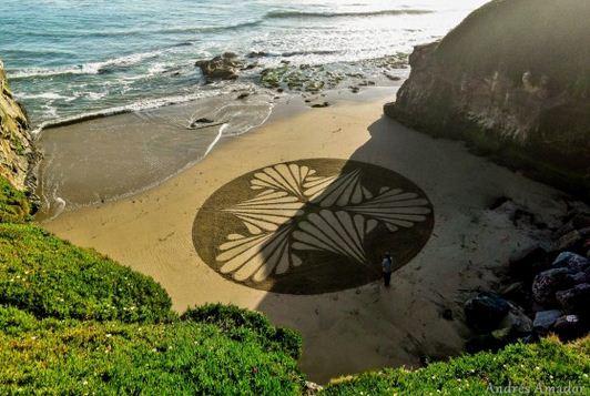 Andres Amador. Большие пляжные рисунки на песке. Ракушки