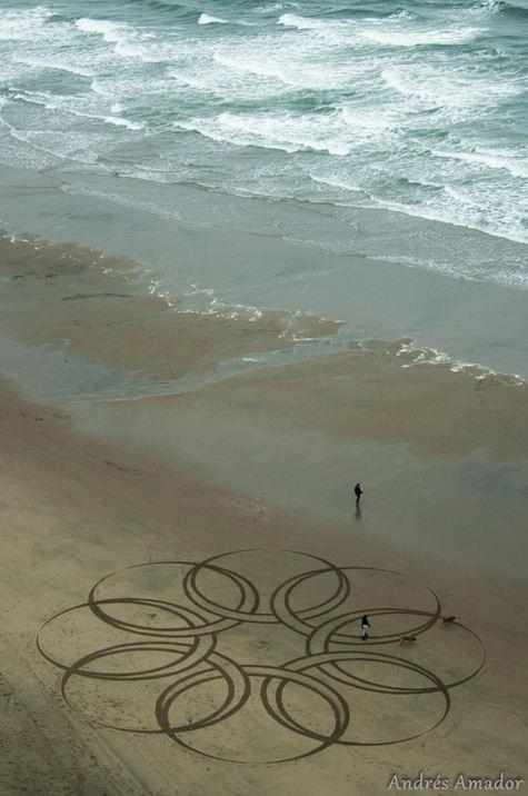 Andres Amador. Большие пляжные рисунки на песке. Шестой