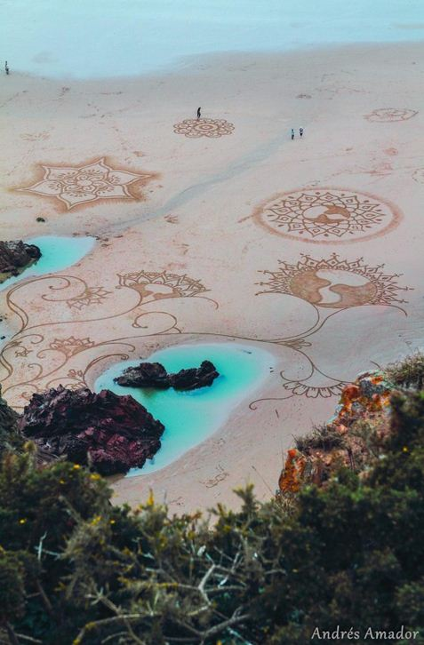Andres Amador. Большие пляжные рисунки на песке. Седьмой