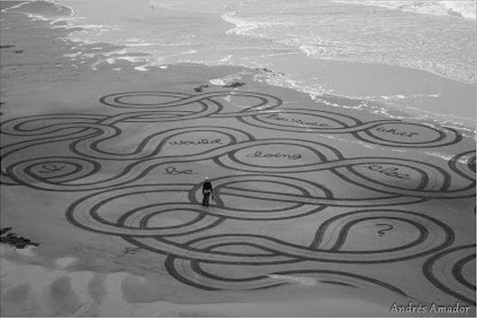 Andres Amador. Большие пляжные рисунки на песке. Семнадцатый