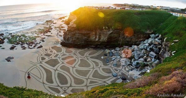 Andres Amador. Большие пляжные рисунки на песке. Восьмой