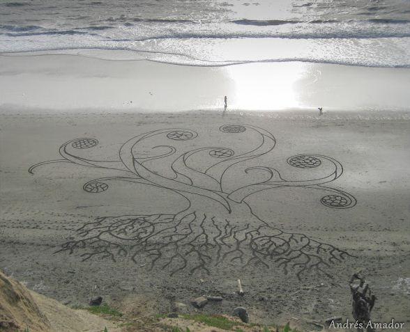 Andres Amador. Большие пляжные рисунки на песке. Второй