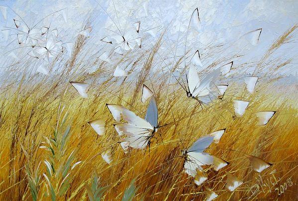 Дмитрий Кустанович. Бабочки на рожью. 60х90