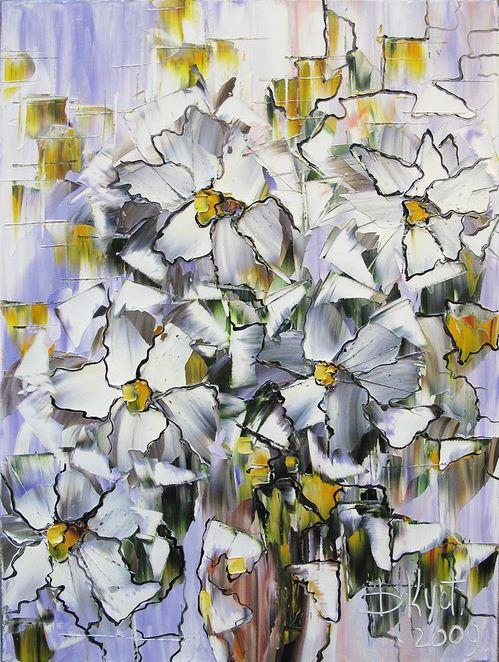 Дмитрий Кустанович. Картины мастихином. Белые цветы. 60х45