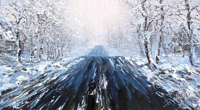 Дмитрий Кустанович. Картины мастихином. Этюды за рулем. 50х90