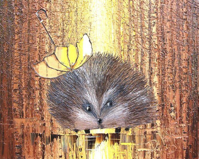 Дмитрий Кустанович. Картины мастихином. Ежик на прогулке осенью. 40х50
