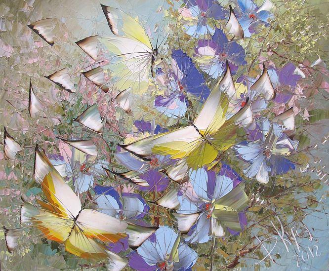 Дмитрий Кустанович. Картины мастихином. Из серии Бабочки. 50х60