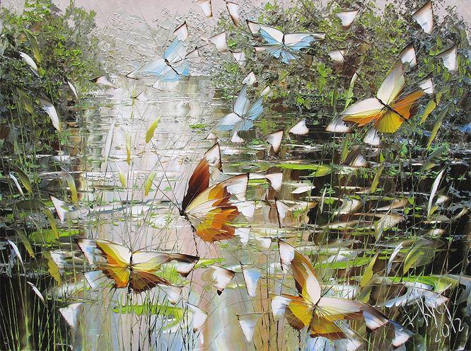 Дмитрий Кустанович. Картины мастихином. Из серии Бабочки. 60х80