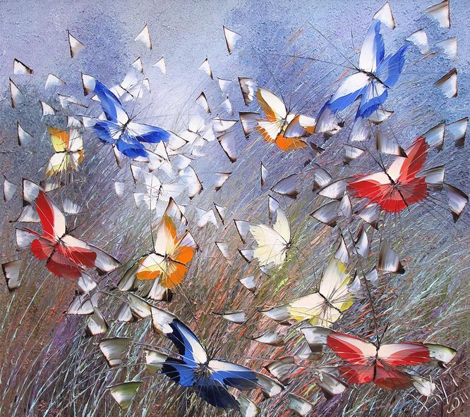 Дмитрий Кустанович. Картины мастихином. Из серии Бабочки. 80х90