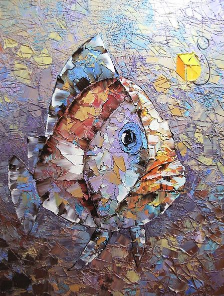 Дмитрий Кустанович. Картины мастихином. Из серии Рыбки. 80х60