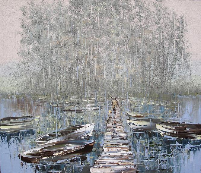 Дмитрий Кустанович. Картины мастихином. Рыбак