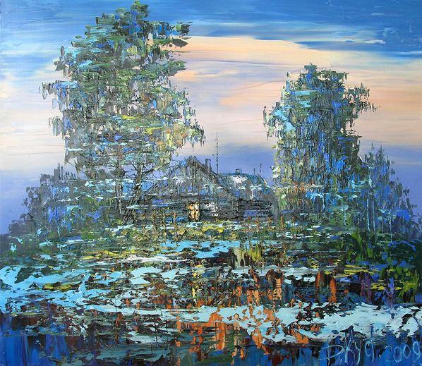 Дмитрий Кустанович. Картины мастихином. Синий туман. 70х80