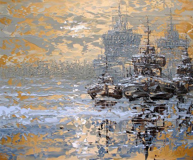 Дмитрий Кустанович. Картины мастихином. Сны на Неве. 50х60