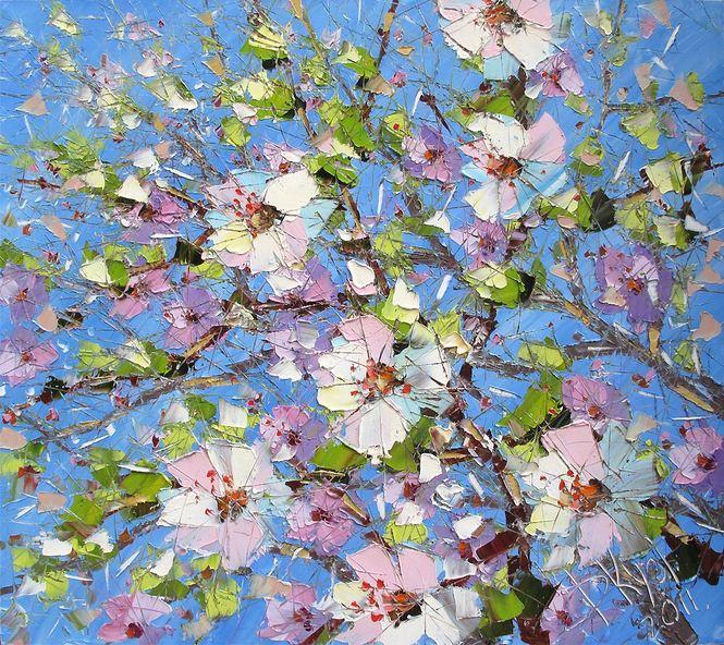 Дмитрий Кустанович. Картины мастихином. Цветущий сад. 80х90