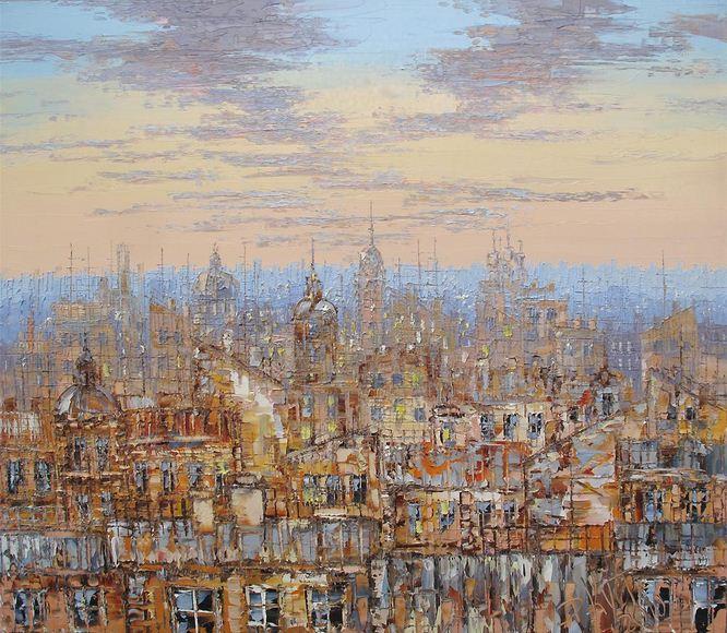 Дмитрий Кустанович. Картины мастихином. Утро над питерскими крышами. 70х80