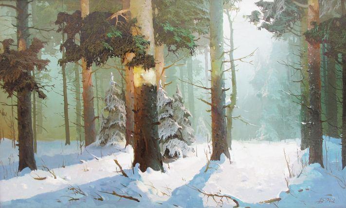 Виктор Быков. Сосновый лес. 30х50 холст масло