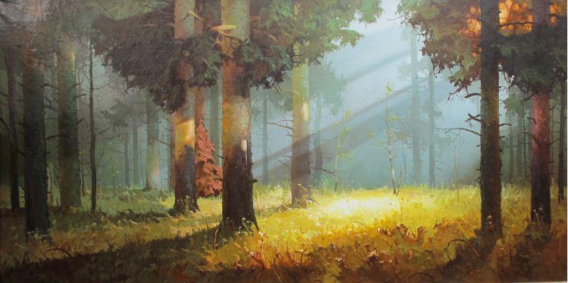 Виктор Быков. Утро в лесу. 50х100 холст масло