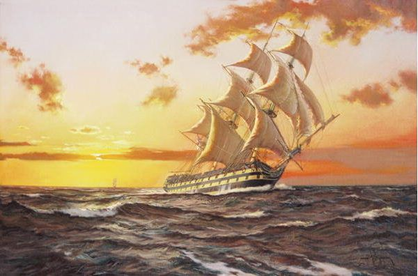 Brereton James. Картины маслом море. HMS Tonnant