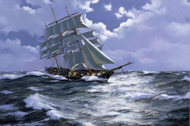 Brereton James. Картины маслом море. Под Луной