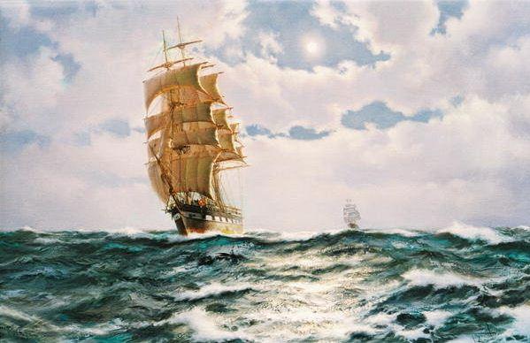 Brereton James. Картины маслом море. The Port Light Golden Fleece