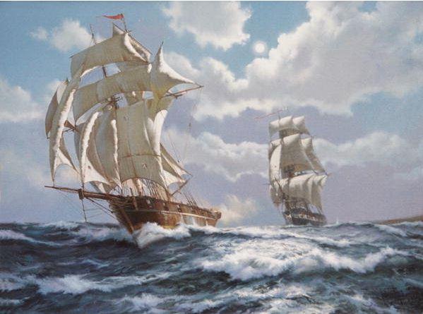 Brereton James. Картины маслом море. The Smuggler