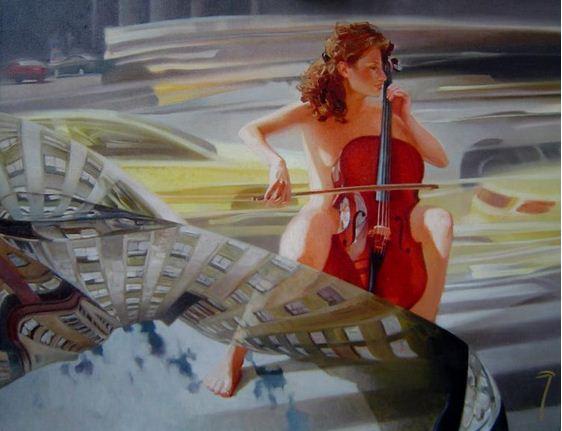 Чернигин Алексей. Картины написанные маслом. Музыка улиц. 70х90 холст масло