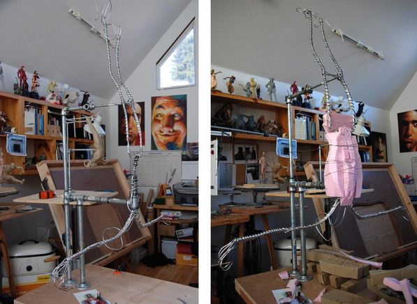 Mark Newman. Мелкая скульптура. В мастерской. Создание гимнаста