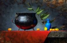 Cheifetz David. Натюрморты живопись. Cauldron and Kumquats. 11х14 дюймов