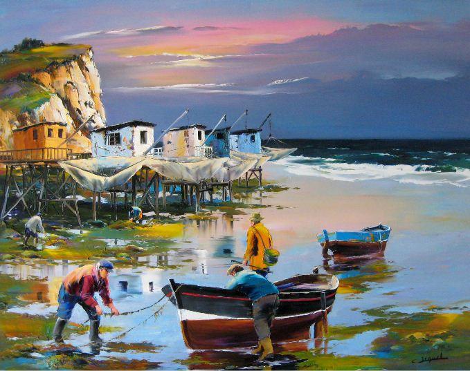 Christian Jequel. Картины мастихином. Cabanes de pêche au carrelet. 92х73
