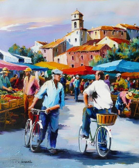 Christian Jequel. Картины мастихином. Cyclistes au marché. 65х54