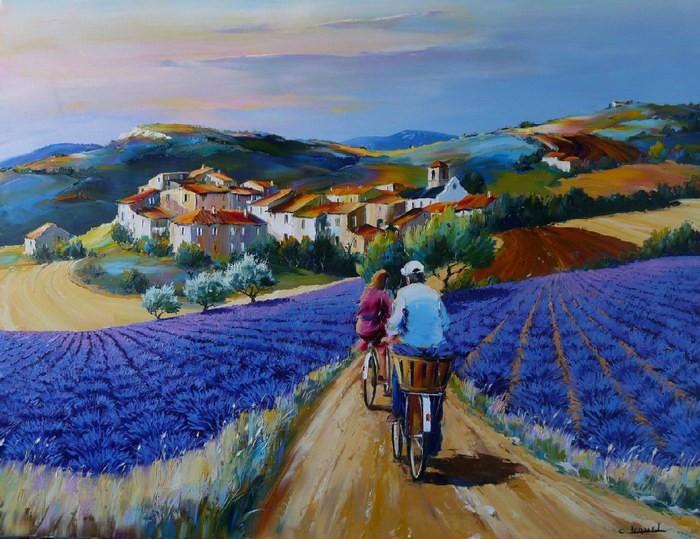 Christian Jequel. Картины мастихином. Cyclistes aux lavandes. 116х89