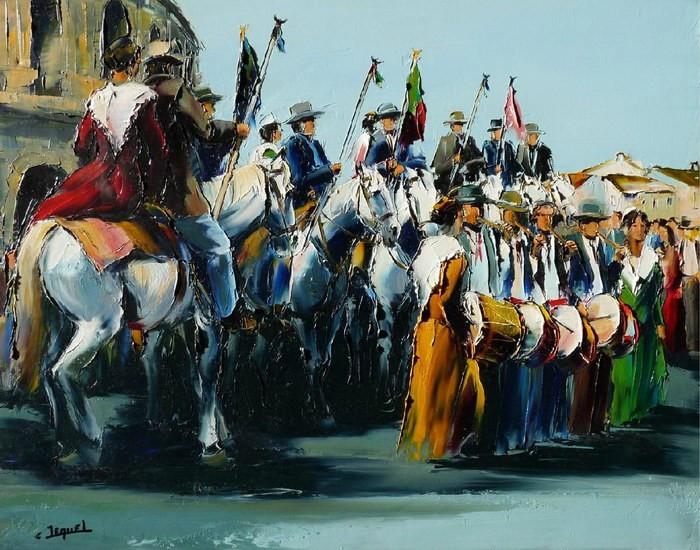 Christian Jequel. Картины мастихином. Devant les arènes de Nîmes. 92х73